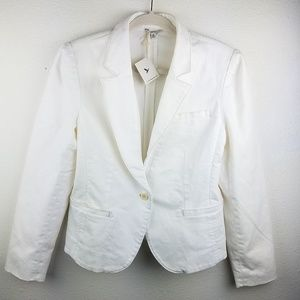 NWT! L.L. BEAN White 1 Button Dress Blazer